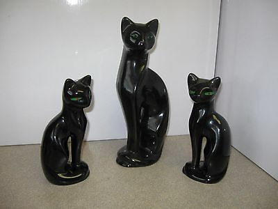 """Artmark Black Cats set of 3 Taiwan 12 inches tall And 2 Cats 8 1/2"""" green eyes"""