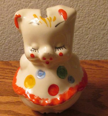 """American Bisque 5"""" Polka Dot Pig Bank 1940s-1950s"""