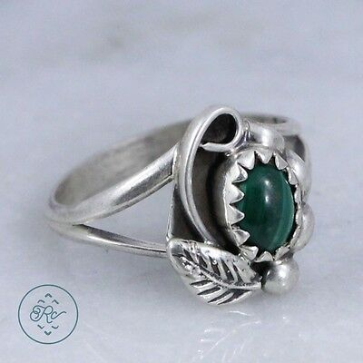 Vintage Sterling Silver | NAVAJO Malachite Leaf Scroll | Ring