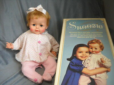 """Very Rare Ideal Snoozie 21""""Doll Thumbelina Original Clothes,Works Moves,*Box"""