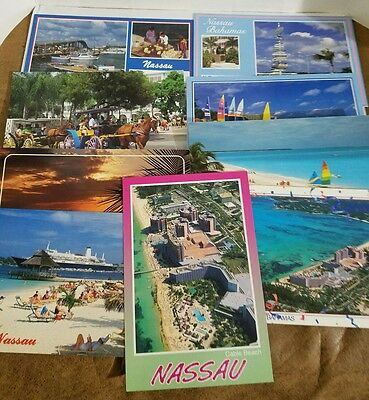 Lot of 9 Vintage Bahamas Unused Postcards from 1980's