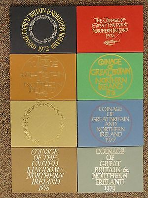 1972 - 1979 The Coinage Of Great Britain And Northern Ireland 8 Proof Coin Sets