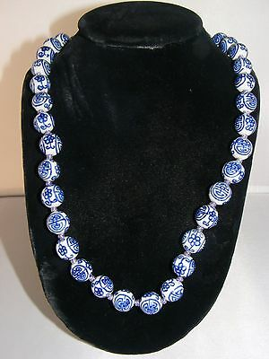"""Vintage Chinese Blue And White Porcelain Bead Necklace 24 """"  37 14 mm beads"""