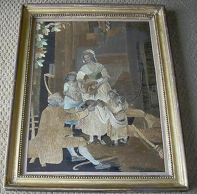 Fabulous Antique American 18Th Century Silk Embroidery Picture With Provenance