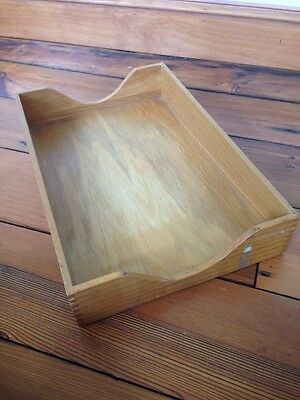 Vintage Style Solid Wood Oak Letter Accessory Tray Desk Organizer In Box