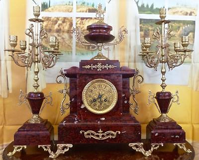 Spectacular antique XL 19thc French gilt bronze & Rouge Marble Mantle Clock Set