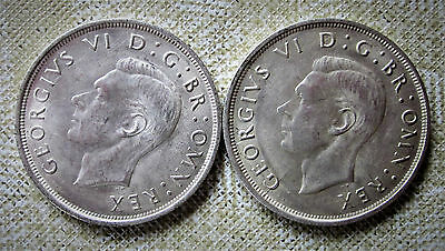 Great Britain 1937 Silver Crown Featuring George VI-- Two of Them