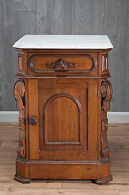 Victorian Marble Top Black Walnut Commode