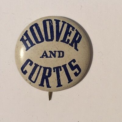 Hoover Curtis Political Campaign Pin Pinback Presidential Button White All Metal