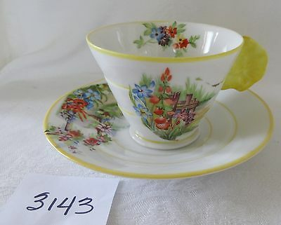 JAPAN  Art Deco cup & saucer  Butterfly  Flower Handle Floral Yellow rims