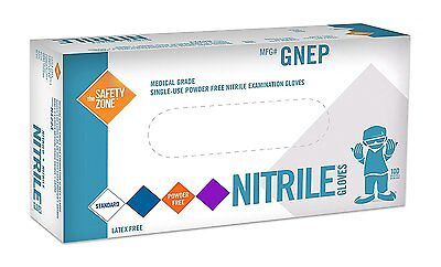 100 Nitrile Disposable Gloves by The Safety Zone Powder Free Non Latex