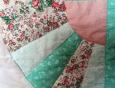 .Vintage 1930 Double Quilt/Throw Grandmother's Fan Design. Shabby Chic.