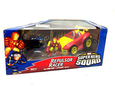 MARVEL HERO SQUAD TOYS IRON MAN & CYCLOPS figures & Repulsor Racer car