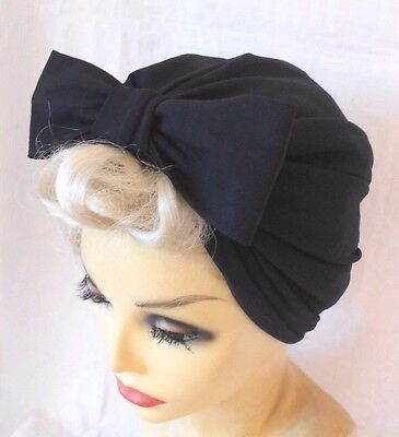 VINTAGE INSPIRED 1940's 1950's STYLE  BLACK TURBAN HAT WWII LINDYHOP SWING