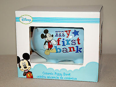 Brand New | Disney MICKEY MOUSE | MY FIRST BANK | Baby Blue Ceramic Piggy Bank