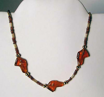 Amber and Gold Choker w Czech Glass Greyhound Dog Beads