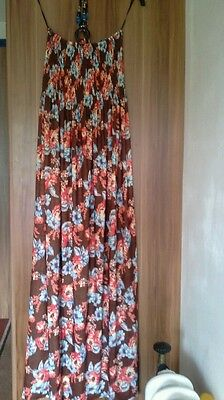 Brown floral maxi dress beaded necklace fastener size womens 10/12/14 nwot