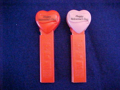 2 - Happy Valentines Day - Pez - Candy Containers  No Feet - Hungary
