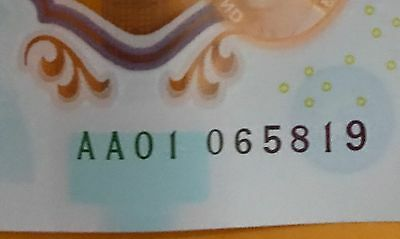 DO NOT MISS OUT :-AA01  06 NOTE AA01 065 819 LOW SERIAL NUMBER Polymer £5 pound