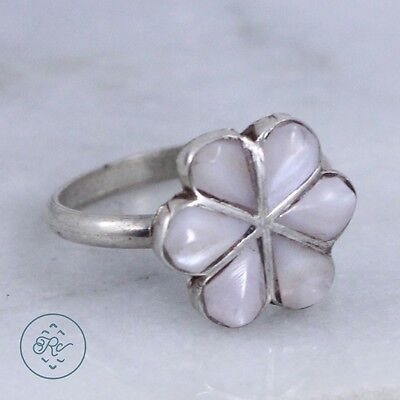 Vintage Sterling Silver | ZUNI White MOP Flower | Ring