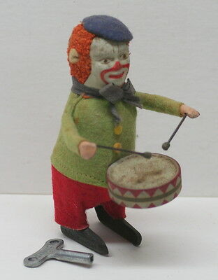 Antique Schuco Dancing Drumming Clown Wind Up Toy With Key Works