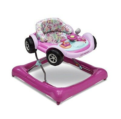 Pink Car Baby Girl Walker Ride Walking Toy Steering Wheel Sounds Lights Buttons