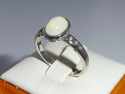 Ladies Sterling Solid 925 Silver Australian Opal & White Sapphire Ring - size Q