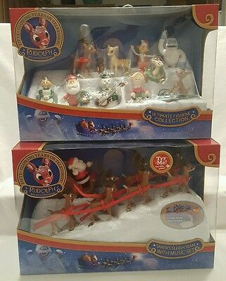 LOT Rudolph Red-Nosed Reindeer Santa's Sleigh Team Ultimate Figurine Collection