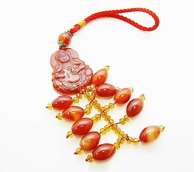 Carved Red Agate Buddha w/ Druzy Center Faceted Glass Ornament #7044