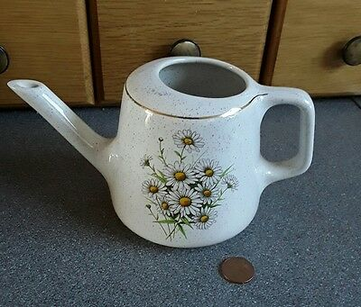 """Daisy Design Kernewek Cornish Pottery Watering Can Gold Edging 4"""" Tall"""