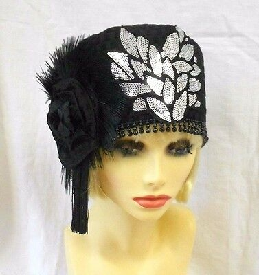 VINTAGE INSPIRED 1920's 1930's STYLE BLACK SILVER SEQUIN CLOCHE HAT GATSBY