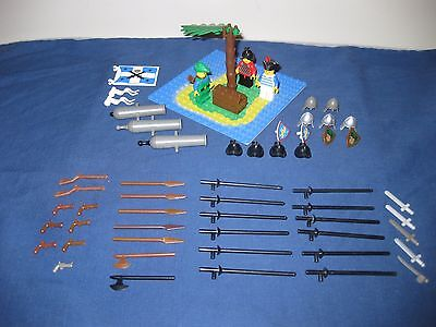 Lego Vintage Minifigs Accessories Base Plate Island Swords Shields Guns Cannons