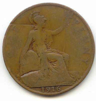 UK 1916 Bronze Penny (95% Copper) Pence Great Britain ---- EXACT COIN PICTURED