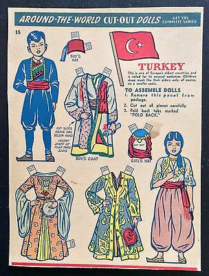 Kellogg's Krumbles Cereal Paper Dolls, 1940's, Around The World, Turkey #15