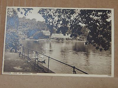 Postcard Swansea lake in Brynmill park Photochrom Card Unposted