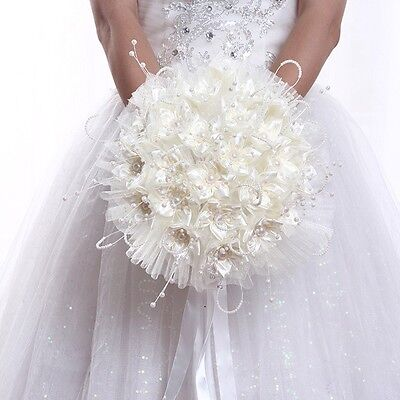 Bridal Bouquet Handmade Rose Posy Faux Pearl Tulle Flower Wedding Party Supplies