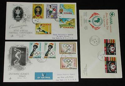Lot of (3) Ghana First Day Issues / covers. 1959 & 1960.