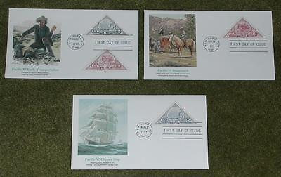 (3) Pacific 97 First Day Issue. FDC's. Stagecoach, Clipper Ship & Early Transpor
