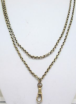 Good antique gold metal long guard/muff chain necklace (dog clip clasp)