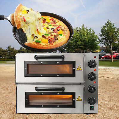 Commercial kitchen Double Deck Electric Pizza Oven Stone Bake Base Home Party