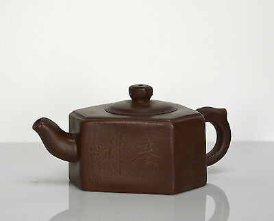 Vintage Chinese Yixing Zisha Triangle Body Purple Clay Teapot with Seal Mark