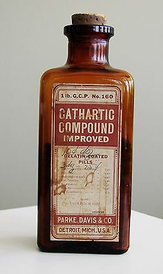 Antique/VTG Drug Store Pharmacy Apothecary Medicine Bottle CATHARTIC RX484