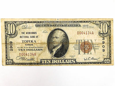 1929 $10 Merchants National Bank of Topeka National Currency Note - Type 1