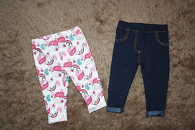 2 x Baby Girl's Leggings/Jeggings Age: 3-6 Months