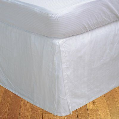 BudgetLinen Box a pieghe gonna letto ( Valance Sheet )(Bianco a_righe,UK (F3X)