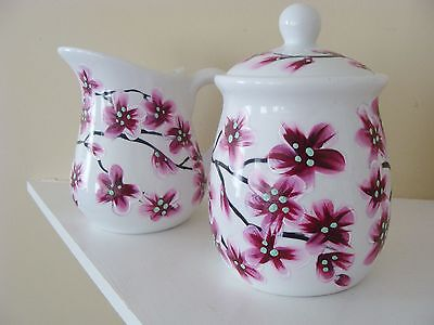 Cherry Blossom Cream and Sugar Set, Tea Time, Chinese Tree Design Pretty Serving