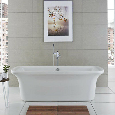 Hudson Reed 1800x800mm Aruba Contemporary Double Ended Freestanding Bath White