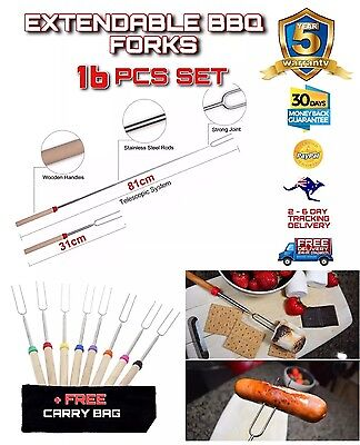16 PCE Telescopic Roasting Marshmallow Barbecue BBQ Skewers Fork +FREE CARRY BAG