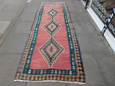 Old Shabby Chic Hand Made Persian Oriental Pink Wool kilim Wide Runner 320x111cm