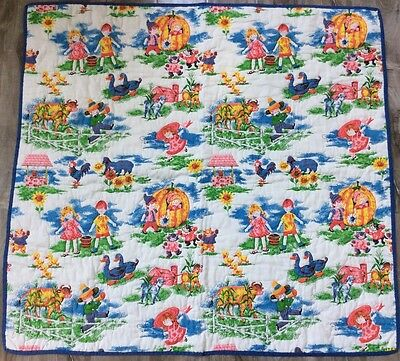 Vintage Children Nursery Rhyme Quilt Quilted Coverlet Baby Blanket Hand Stitched